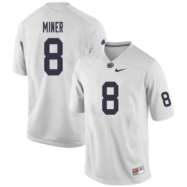 Men #8 Jordan Miner Penn State Nittany Lions College Football Jerseys Sale-White