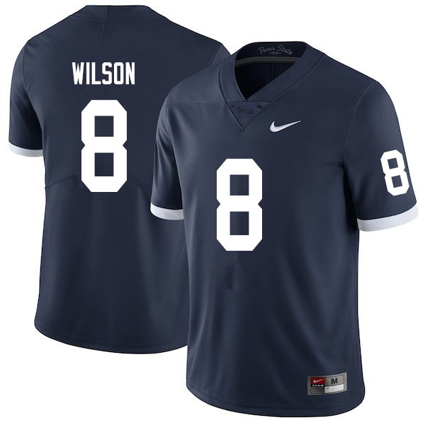 Men #8 Marquis Wilson Penn State Nittany Lions College Throwback Football Jerseys Sale-Navy