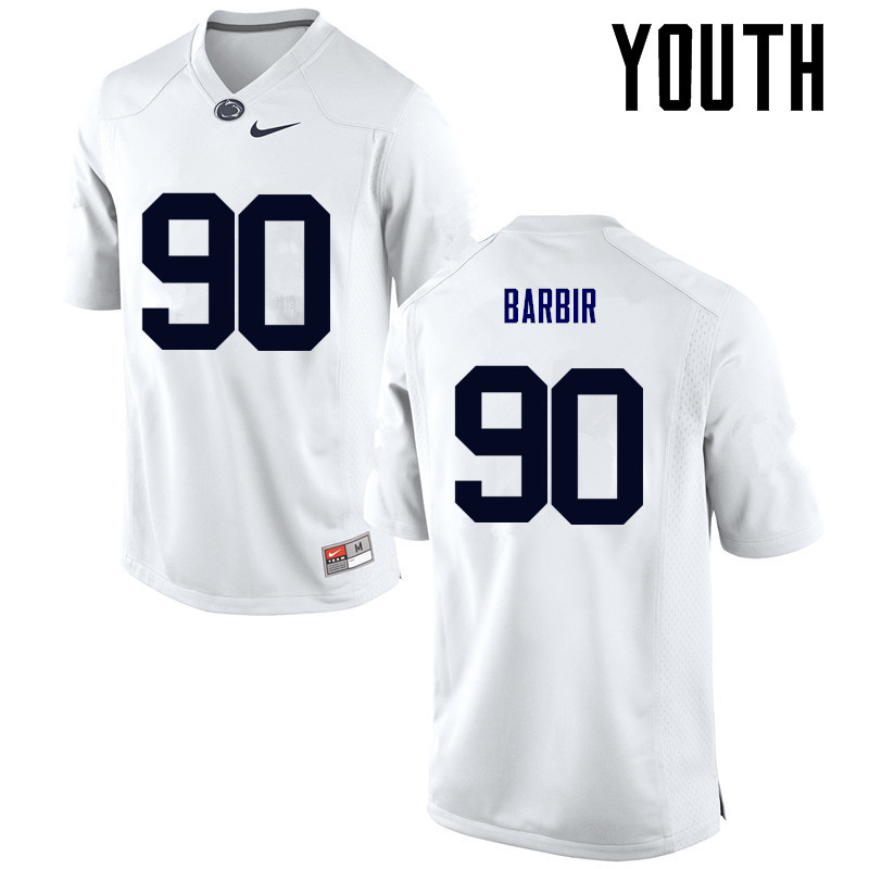 Youth Penn State Nittany Lions #90 Alex Barbir College Football Jerseys-White
