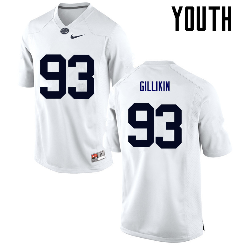 Youth Penn State Nittany Lions #93 Blake Gillikin College Football Jerseys-White