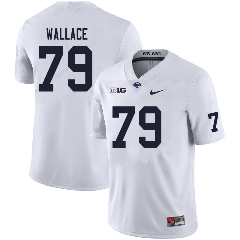 Men #79 Caedan Wallace Penn State Nittany Lions College Football Jerseys Sale-White