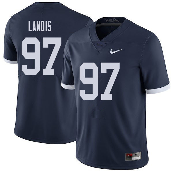 Men #97 Carson Landis Penn State Nittany Lions College Throwback Football Jerseys Sale-Navy
