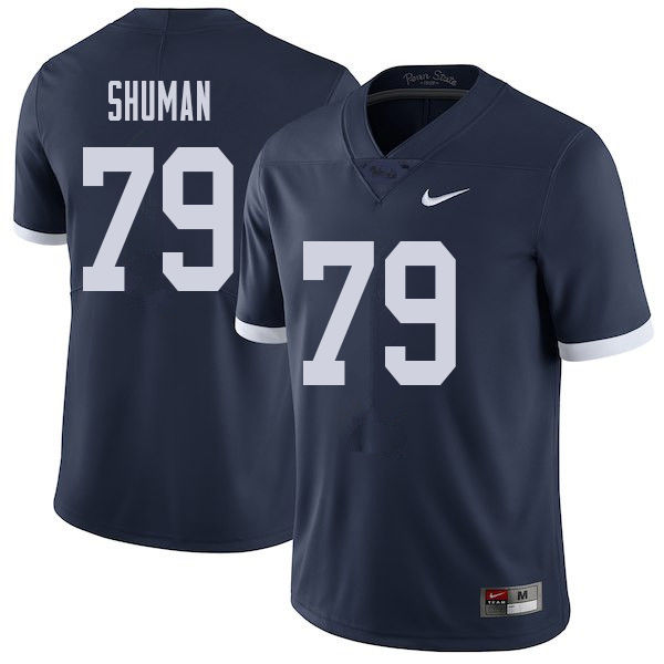 Men #79 Charlie Shuman Penn State Nittany Lions College Throwback Football Jerseys Sale-Navy
