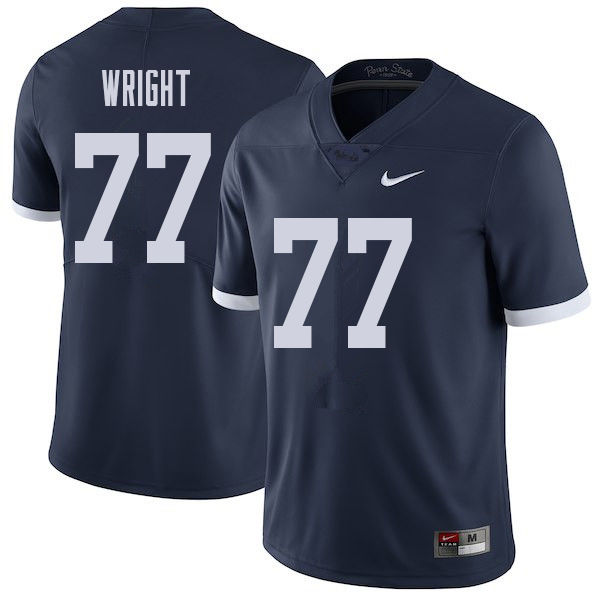 Men #77 Chasz Wright Penn State Nittany Lions College Throwback Football Jerseys Sale-Navy