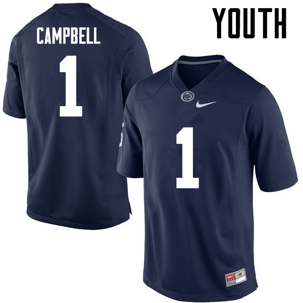 Youth Penn State Nittany Lions #1 Christian Campbell College Football Jerseys-Navy