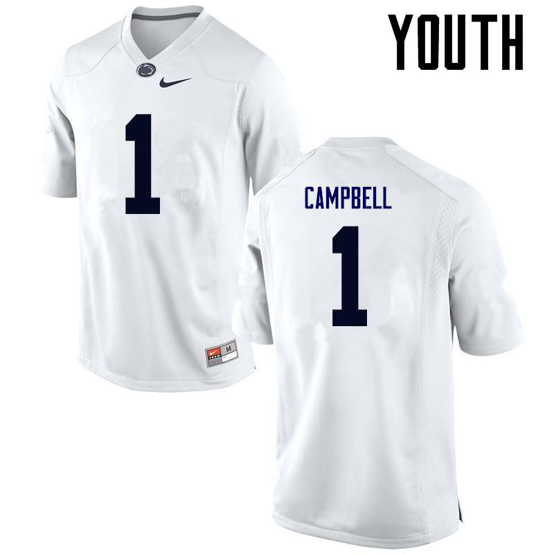 Youth Penn State Nittany Lions #1 Christian Campbell College Football Jerseys-White