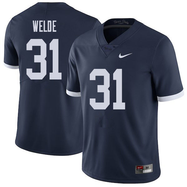 Men #31 Christopher Welde Penn State Nittany Lions College Throwback Football Jerseys Sale-Navy