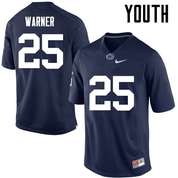 Youth Penn State Nittany Lions #25 Curt Warner College Football Jerseys-Navy
