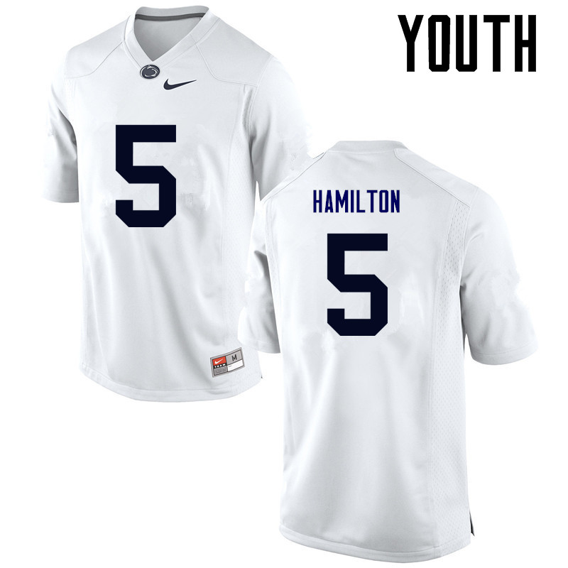 Youth Penn State Nittany Lions #5 DaeSean Hamilton College Football Jerseys-White