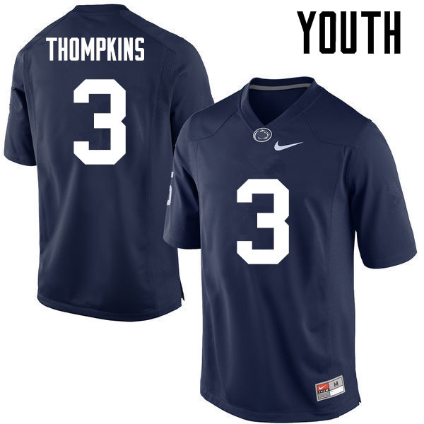 Youth Penn State Nittany Lions #3 DeAndre Thompkins College Football Jerseys-Navy