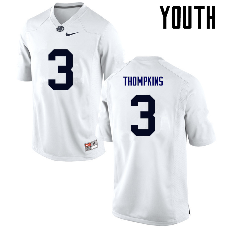 Youth Penn State Nittany Lions #3 DeAndre Thompkins College Football Jerseys-White