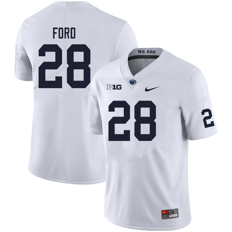 Men #28 Devyn Ford Penn State Nittany Lions College Football Jerseys Sale-White