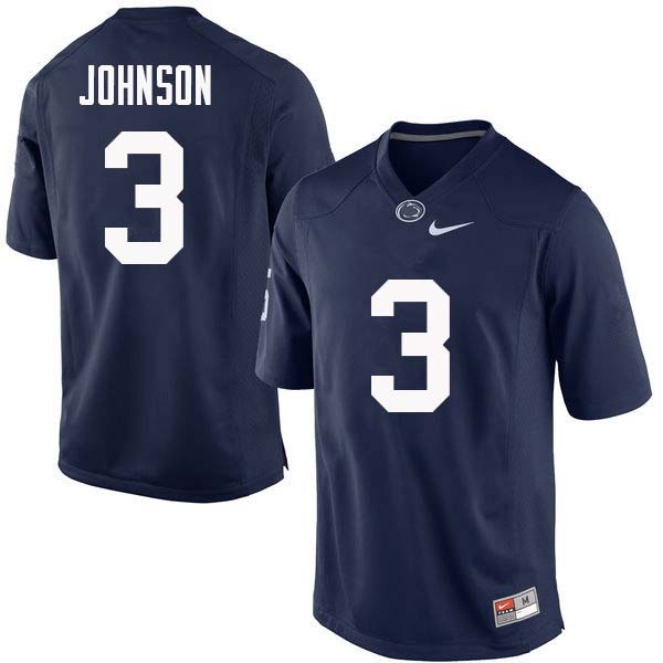 Men #3 Donovan Johnson Penn State Nittany Lions College Football Jerseys Sale-Navy