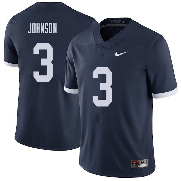 Men #3 Donovan Johnson Penn State Nittany Lions College Throwback Football Jerseys Sale-Navy