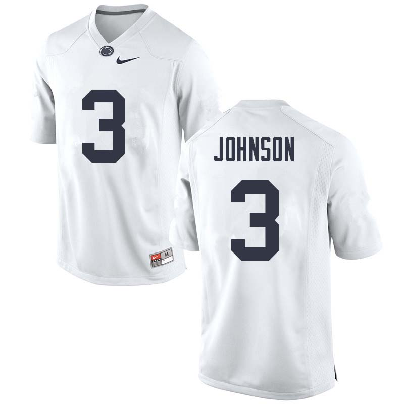 Men #3 Donovan Johnson Penn State Nittany Lions College Football Jerseys Sale-White