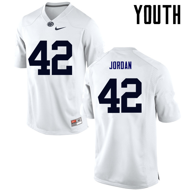 Youth Penn State Nittany Lions #42 Ellison Jordan College Football Jerseys-White