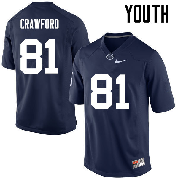 Youth Penn State Nittany Lions #81 Jack Crawford College Football Jerseys-Navy