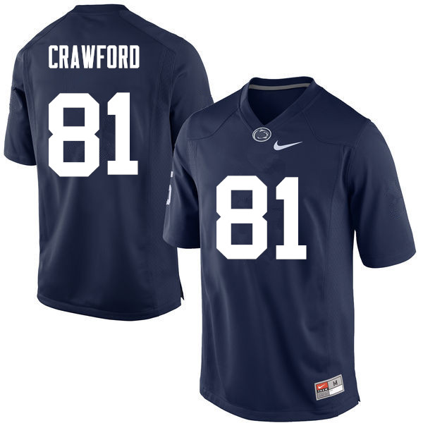 Men Penn State Nittany Lions #81 Jack Crawford College Football Jerseys-Navy