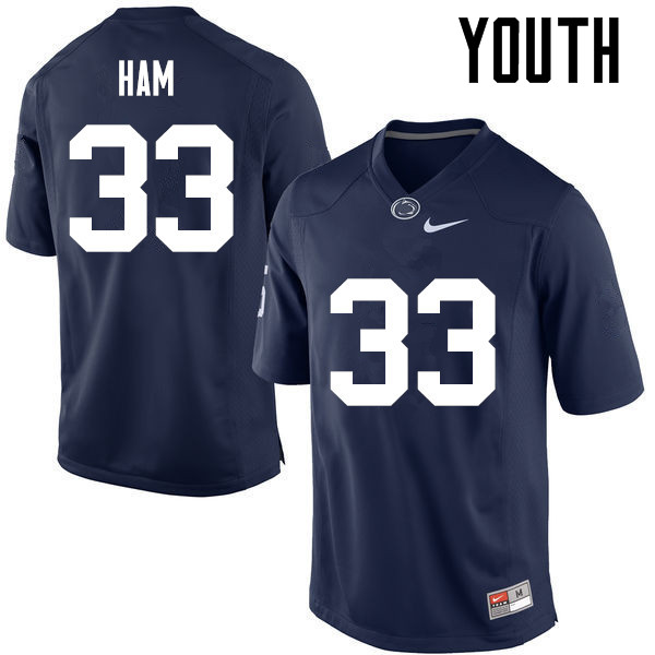 Youth Penn State Nittany Lions #33 Jack Ham College Football Jerseys-Navy