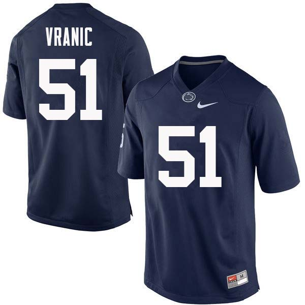 Men #51 Jason Vranic Penn State Nittany Lions College Football Jerseys Sale-Navy