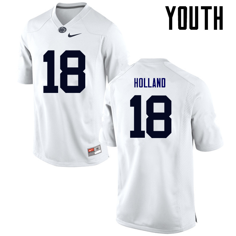 Youth Penn State Nittany Lions #18 Jonathan Holland College Football Jerseys-White