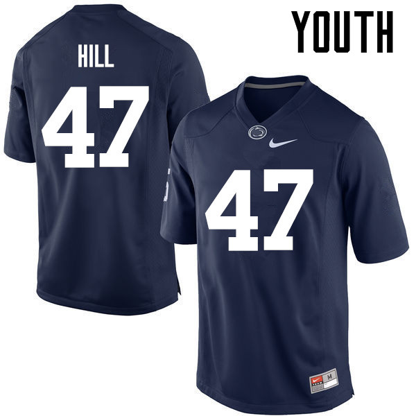Youth Penn State Nittany Lions #47 Jordan Hill College Football Jerseys-Navy