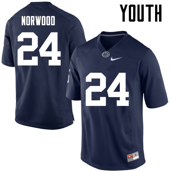 Youth Penn State Nittany Lions #24 Jordan Norwood College Football Jerseys-Navy
