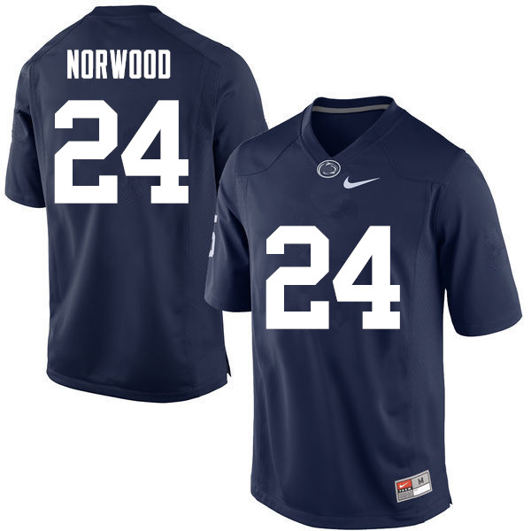 Men Penn State Nittany Lions #24 Jordan Norwood College Football Jerseys-Navy