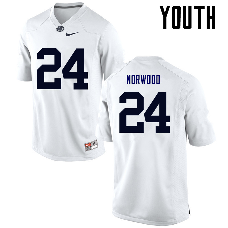 Youth Penn State Nittany Lions #24 Jordan Norwood College Football Jerseys-White