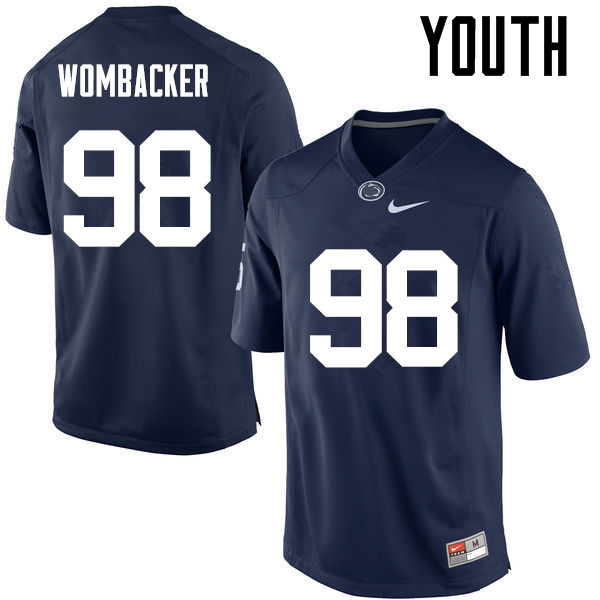 Youth Penn State Nittany Lions #98 Jordan Wombacker College Football Jerseys-Navy