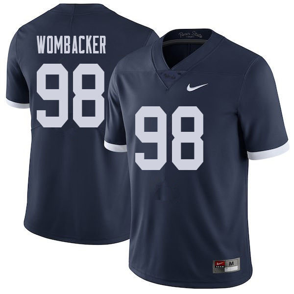 Men #98 Jordan Wombacker Penn State Nittany Lions College Throwback Football Jerseys Sale-Navy
