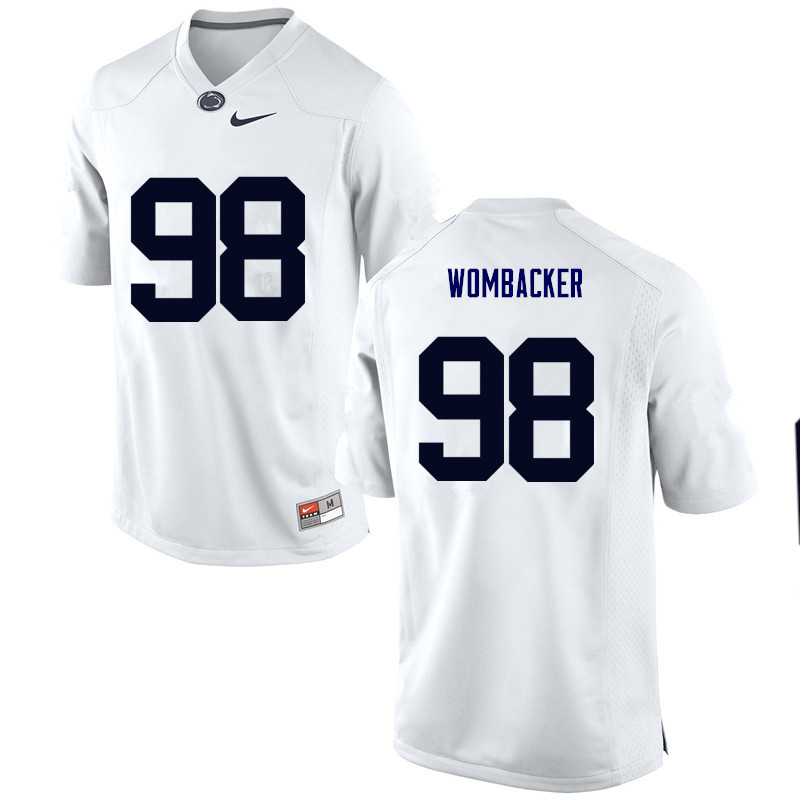 Men Penn State Nittany Lions #98 Jordan Wombacker College Football Jerseys-White