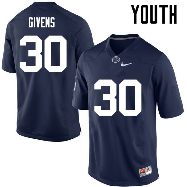 Youth Penn State Nittany Lions #30 Kevin Givens College Football Jerseys-Navy