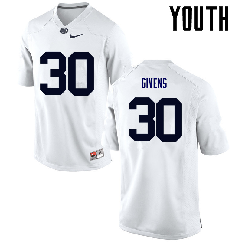 Youth Penn State Nittany Lions #30 Kevin Givens College Football Jerseys-White