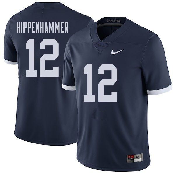 Men #12 Mac Hippenhammer Penn State Nittany Lions College Throwback Football Jerseys Sale-Navy