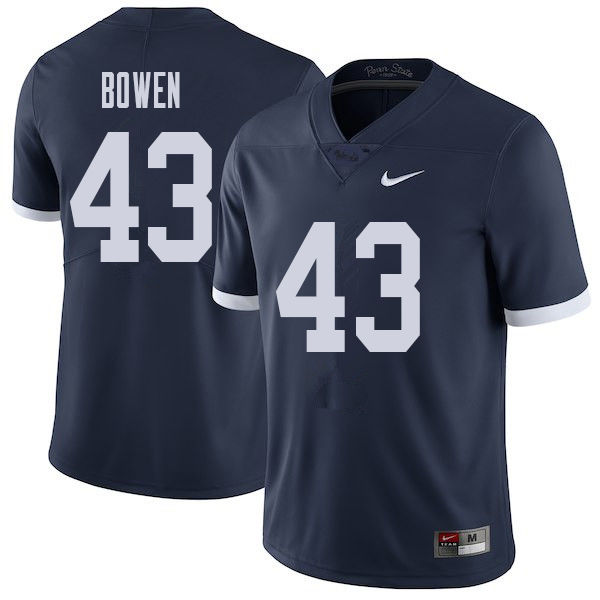 Men #43 Manny Bowen Penn State Nittany Lions College Throwback Football Jerseys Sale-Navy