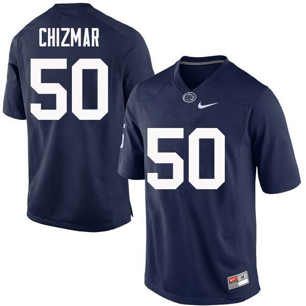 Men #50 Max Chizmar Penn State Nittany Lions College Football Jerseys Sale-Navy