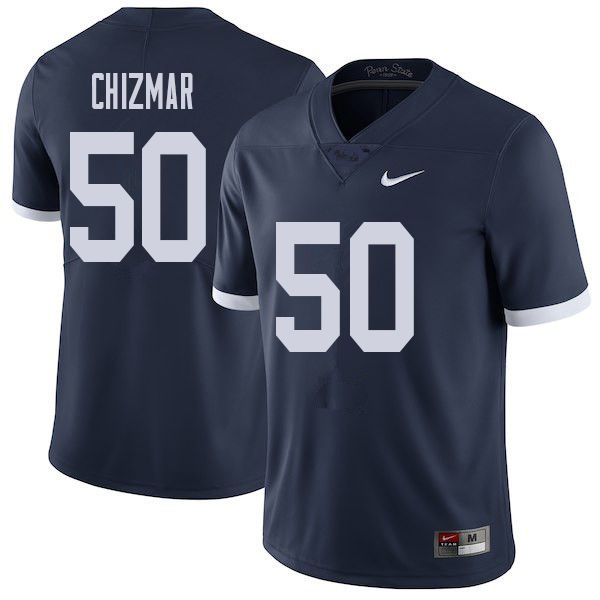 Men #50 Max Chizmar Penn State Nittany Lions College Throwback Football Jerseys Sale-Navy