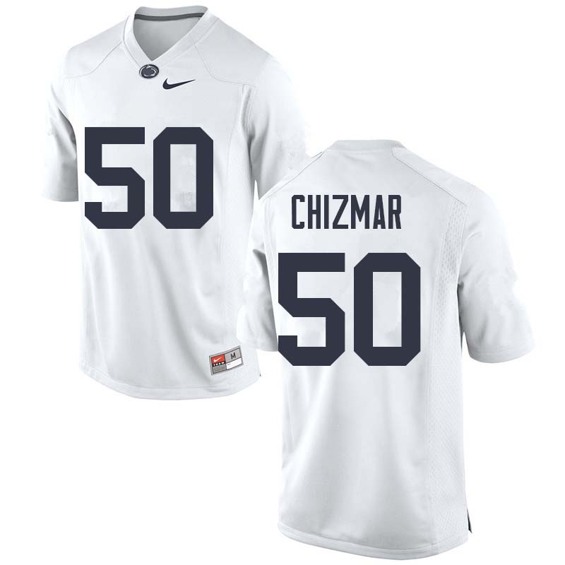 Men #50 Max Chizmar Penn State Nittany Lions College Football Jerseys Sale-White