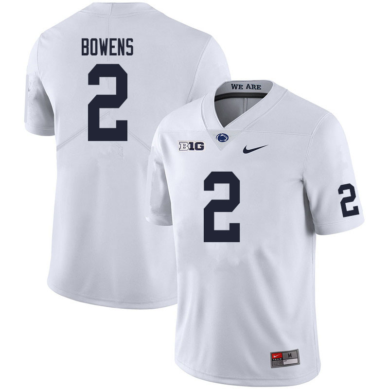 Men #2 Micah Bowens Penn State Nittany Lions College Football Jerseys Sale-White