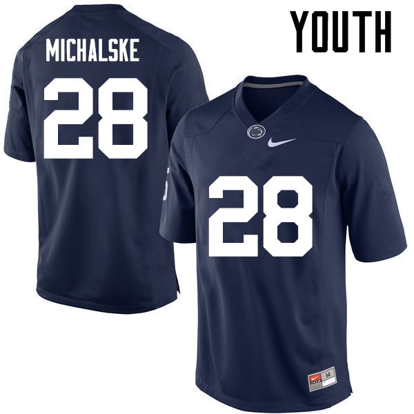 Youth Penn State Nittany Lions #28 Mike Michalske College Football Jerseys-Navy