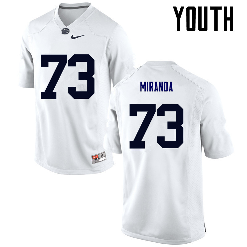 Youth Penn State Nittany Lions #73 Mike Miranda College Football Jerseys-White