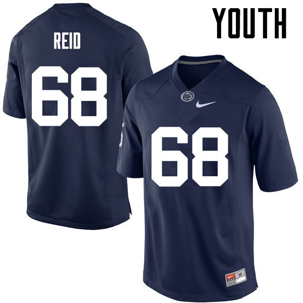 Youth Penn State Nittany Lions #68 Mike Reid College Football Jerseys-Navy