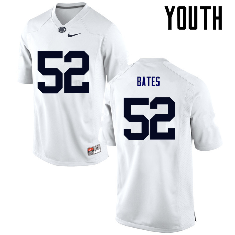 Youth Penn State Nittany Lions #52 Ryan Bates College Football Jerseys-White