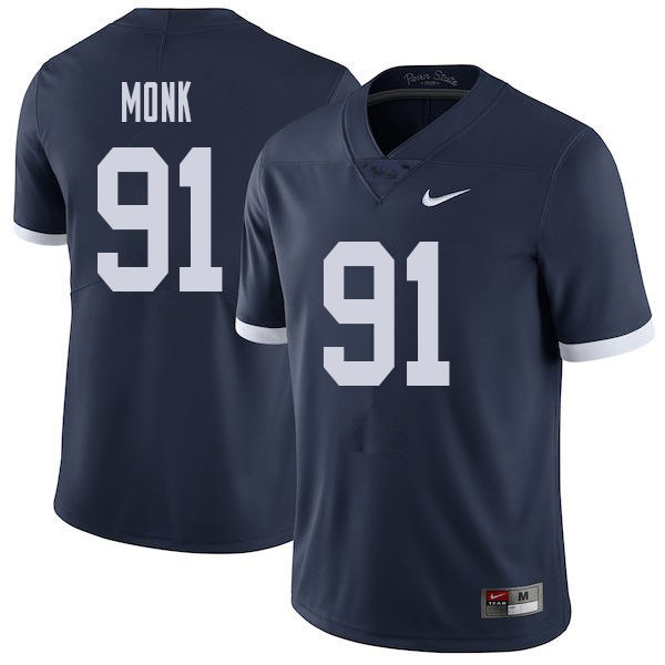 Men #91 Ryan Monk Penn State Nittany Lions College Throwback Football Jerseys Sale-Navy