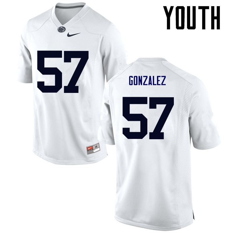 Youth Penn State Nittany Lions #57 Steven Gonzalez College Football Jerseys-White