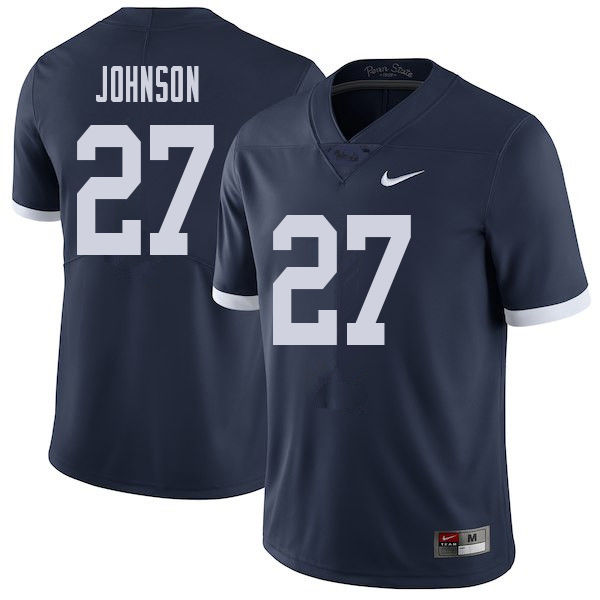 Men #27 T.J. Johnson Penn State Nittany Lions College Throwback Football Jerseys Sale-Navy