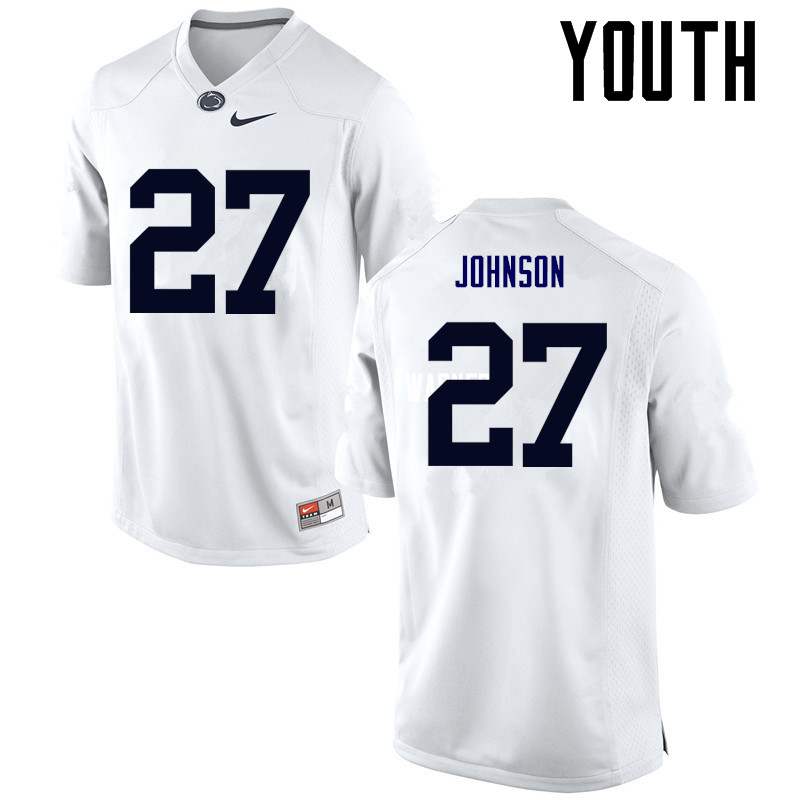 Youth Penn State Nittany Lions #27 T.J. Johnson College Football Jerseys-White