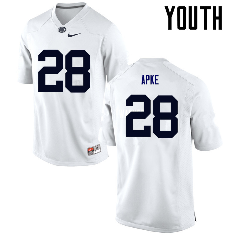 Youth Penn State Nittany Lions #28 Troy Apke College Football Jerseys-White