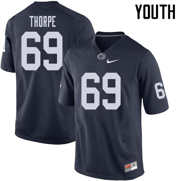 Youth #69 C.J. Thorpe Penn State Nittany Lions College Football Jerseys Sale-Navy